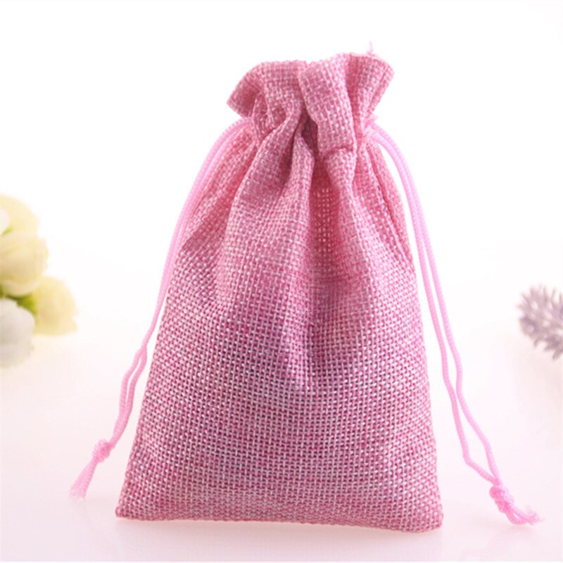 New Design High Quality Wholesale 20pcs/lot Pink Matrimonio Packaging Drawstring Jewelry Burlap Bags Jute Christmas