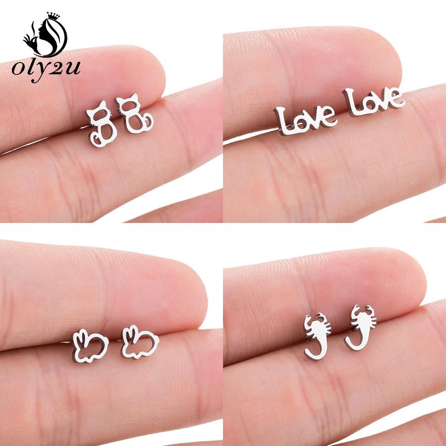 Oly2u Tiny Animal Cat Stud Earrings Stainless Steel oorbellen For Women Earings femme Ear Earings Fa
