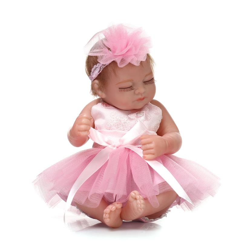 Mini 100-reborn-babies bonecas realistas renascer bebês com vestido de princesa presente de brinquedos para crianças boneca reborn bebes