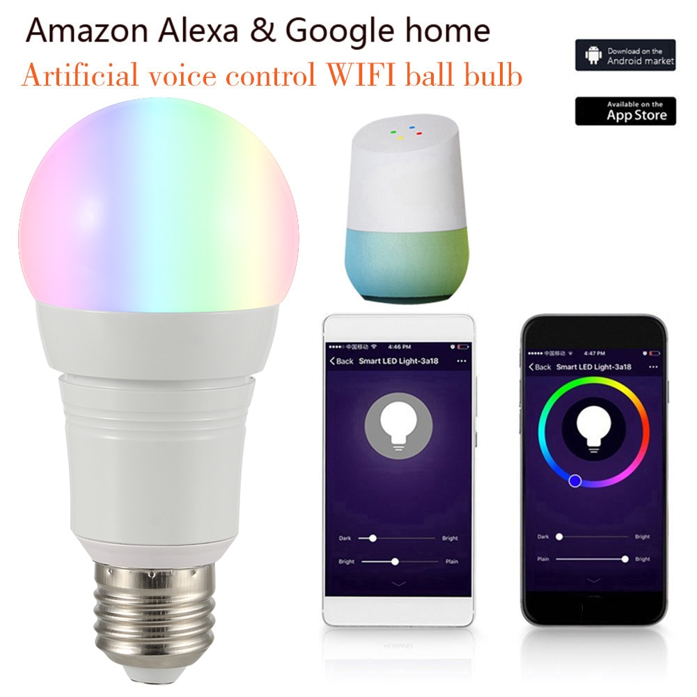 WIFI inteligente bombilla Led 10/7W E27 B22 E14 RGB Lámpara de trabajo de casa inteligente Bluetooth lámpara Color Compatible con Alexa de google