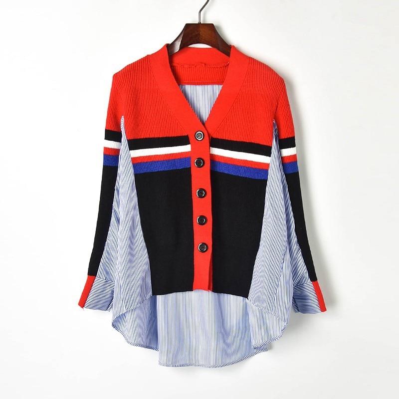 Irregular Women Shirts 2019 Spring New Hit Color Striped V-neck Long Sleeve Oversized Shirt Female Stitching Knit Cardigan Tops