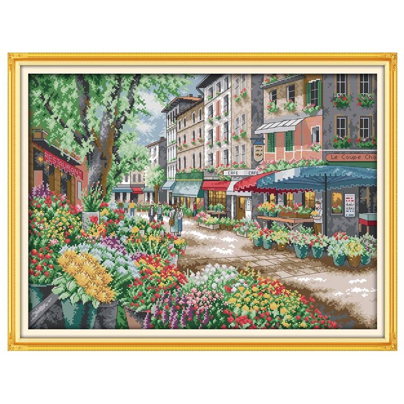 Bordado de punto de cruz con diseño de flores de París, 11 CT, 14 ct, punto de cruz con paisaje, Kits de bordado para manualidades de costura