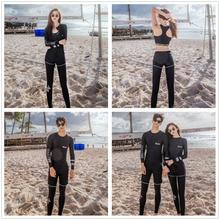 Meiyier Korean style 2019 Couple matching swimwear three pieces men and women lovers beach wear long sleeve surf swimsuit M-3XL
