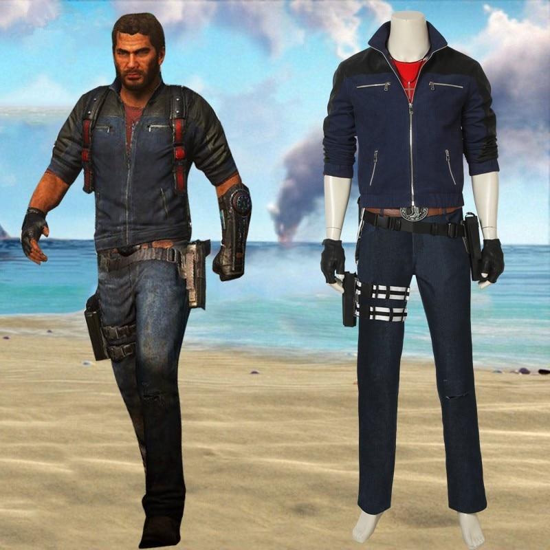 Juego Just Cause 3 Rico Rodriguez Cosplay disfraz azul marino chaqueta con cremallera pantalones armadura guantes cintura bolsa cinturón Halloween