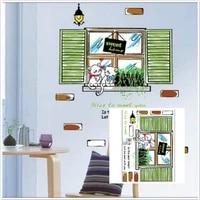 Autocollant mural en vinyle amovible  decoration de fenetre  chats doux  pour la maison  bricolage