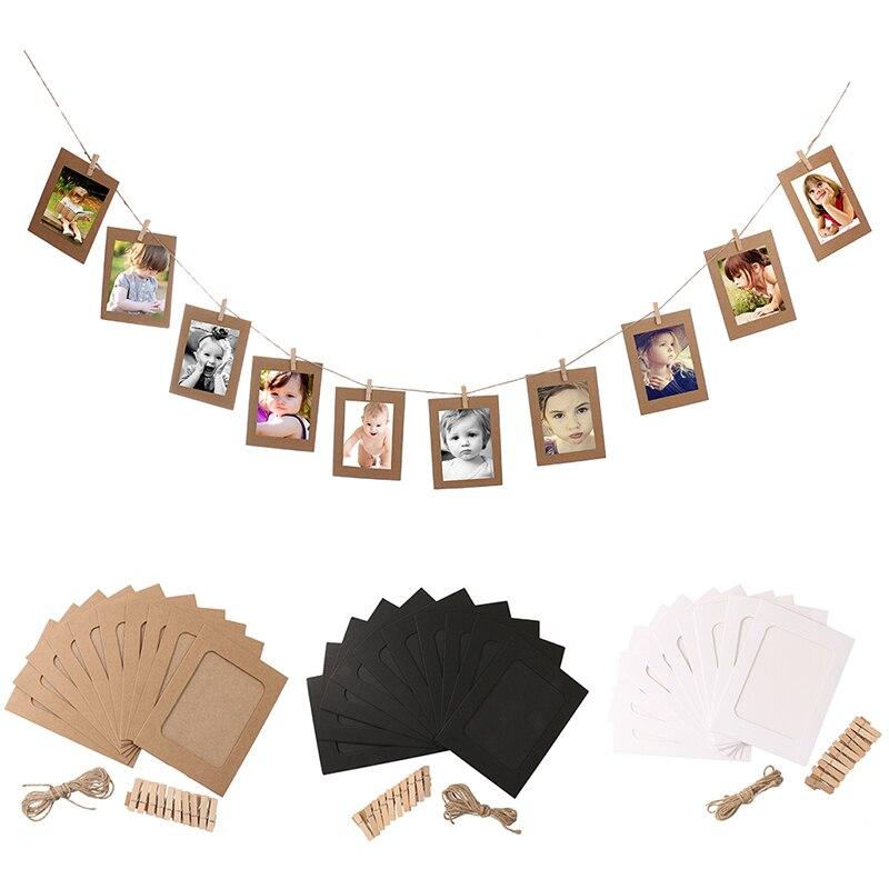 Marco de fotos de cuadro con Clips y cuerda 3/4/5/6/7 pulgadas, Banner colgante de pared, marco de fotos DIY, álbum de fotos, decoración de boda, hogar