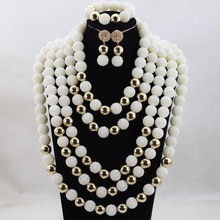 Luxury White Women Costume Bib Statement Necklace Set Traditional Wedding African Beads Jewelry Set QW1129