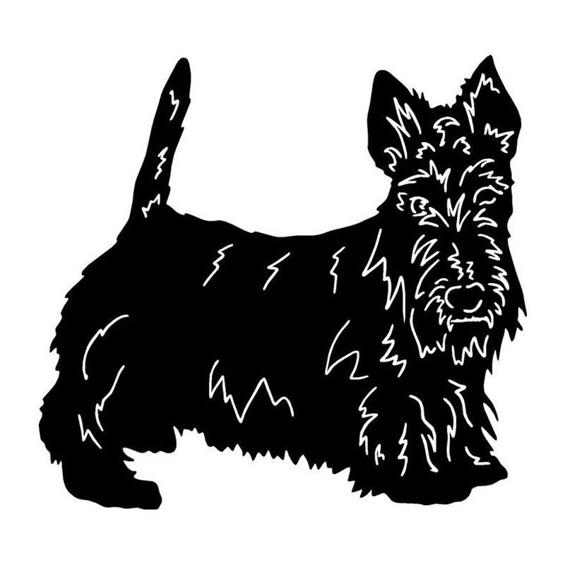13,7*12,7 CM Terrier escocés perro vinilo pegatina pegatinas para coche reflectantes, estilo para el coche parachoques decoración negro/plata S1-1207