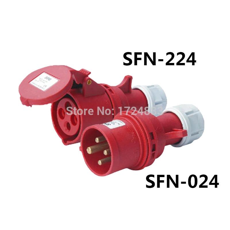 32A 3-полюсный разъем Промышленные мужские и женские вилки SFN-024/SFN-224 водонепроницаемый IP44 380-415V ~ 3 p + E