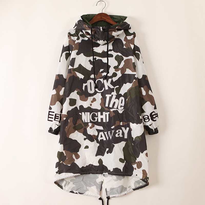 just.be.never women hooded long trech coat autumn green camouflage letter print irregular rock hip hop dance female loose trench