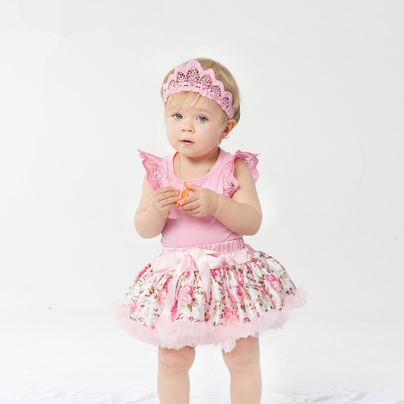 Traje de flores rosa para niñas. Traje bebe para niños. Mameluco con tutú de encaje. Ropa para bebés y niños pequeños 3 uds. C026
