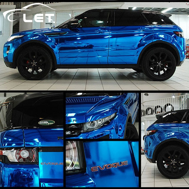 car styling High stretchable Waterproof UV Protected Blue Chrome Mirror Vinyl Wrap Sheet Roll Film C