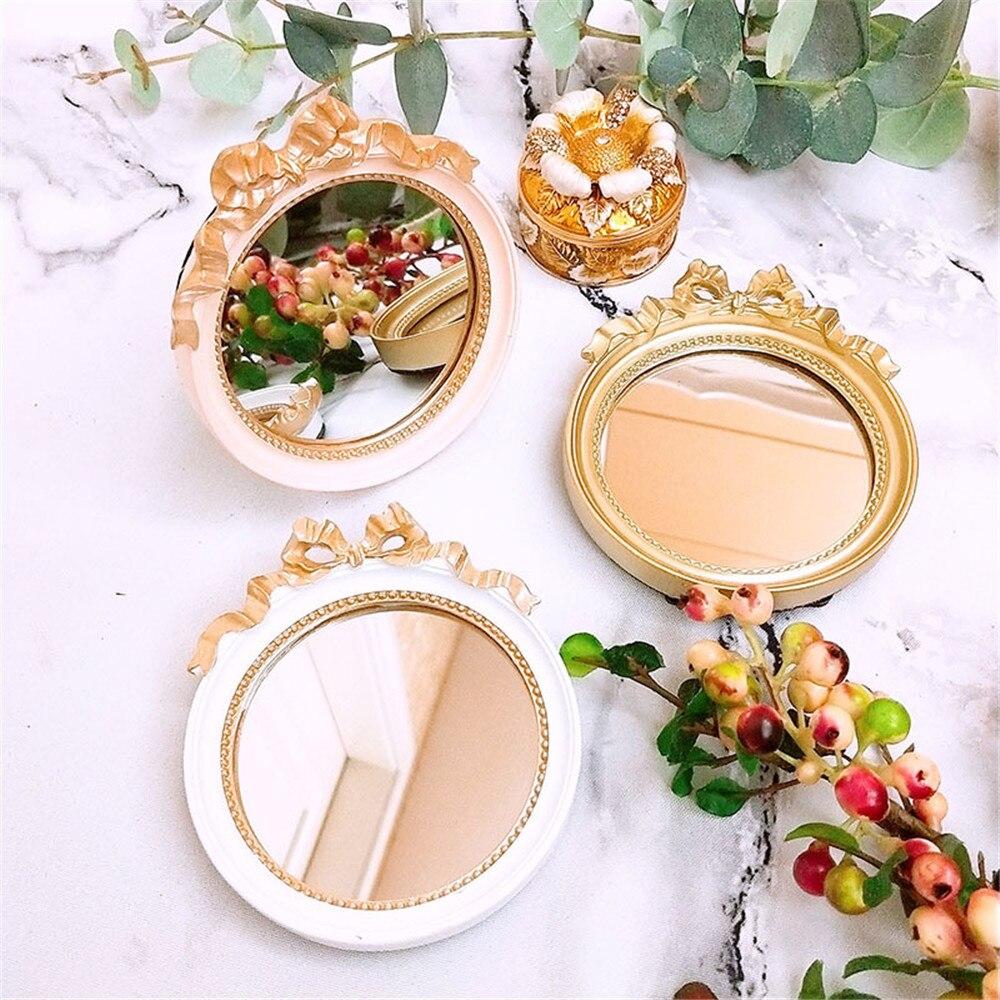 Enipate europeo Vintage Mini bandejas de joyería de resina vidrio espejo placa oro/rosa/blanco calma maquillaje caramelo Bar Decoración