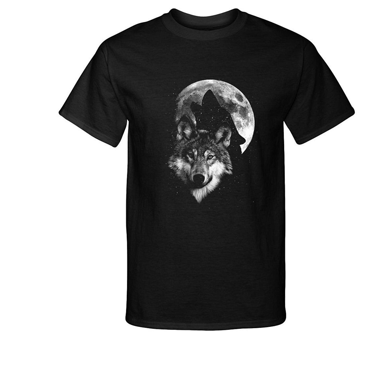 Camiseta de algodón de moda 2019, camiseta de moda con sombra de lobo aullando y luna