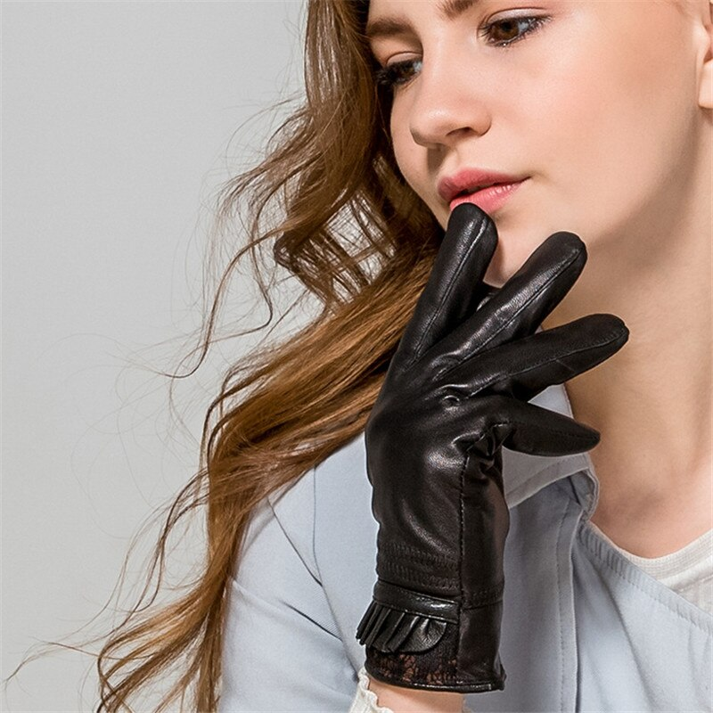 Woman Lambskin Gloves Ms. Genuine Leather Gloves Winter Plus Velvet Thicken Warm Korean Pleated Lace Five Finger WL07 ms office pro plus 2019 genuine license 2 pc install