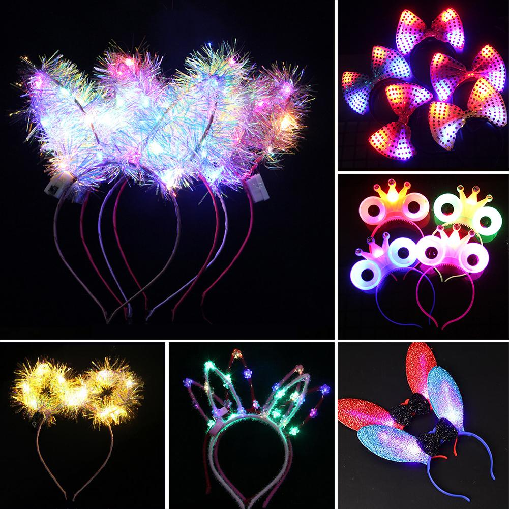 1Pc kids Girls LED Flashing Cute Pointed Cat Ears Sequins Rabbit Ear Light up Headband Flashing LED Hair Hoop Party Supplies