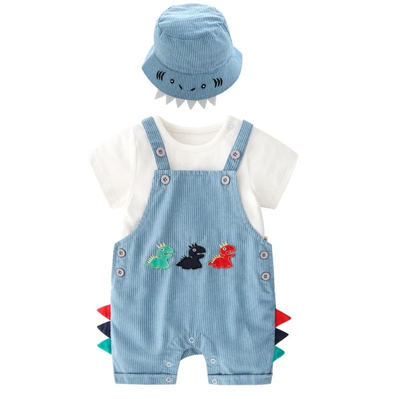 Dinosaur pattern new baby boy clothes hat+t-shirt+pants 3pcs mother newborn baby handsone romper sets