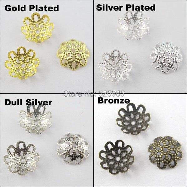 (200 piezas = 1 lote) Envío Gratis joyería encontrar 10 MM flor filigrana extremo cuentas tapas bronce chapado en oro plata níquel n. ° BC02