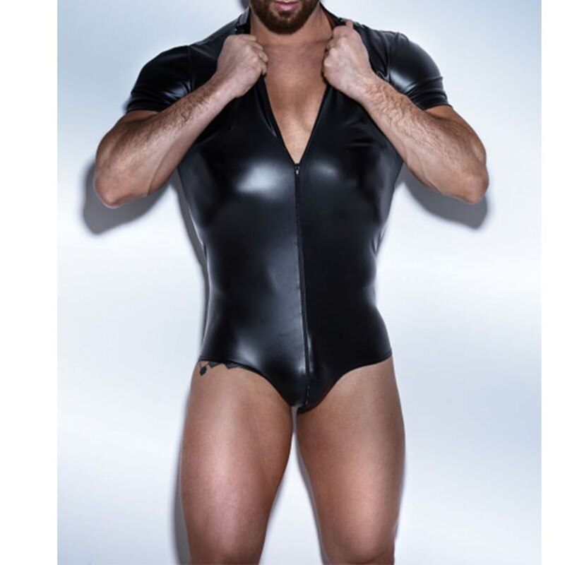 Bodysuit Latex Catsuit de Couro dos homens Homens de Couro Falso Corpo Roupas Terno dos homens Lingerie Sexy Gay