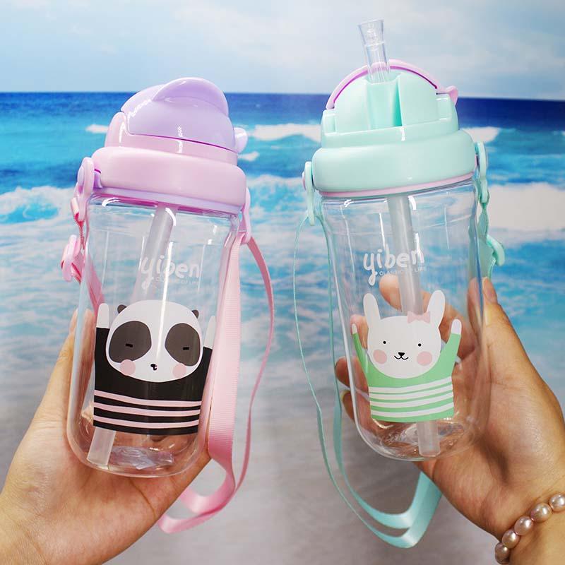 430 ml Copo Bebê Bonito Das Crianças Dos Miúdos Aprender Beber Alimentação Sippy Mamadeira Pega Palha Garrafa de Água Copo de Treinamento Bebê de Alimentação copo