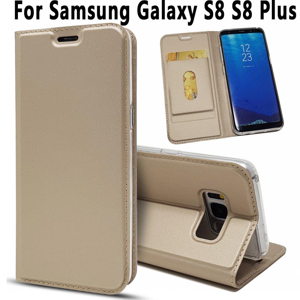 Funda de piel magnética ultrafina con funda de silicona suave para Samsung Galaxy S8 S8 + Plus G950 G955 funda + soporte con ranuras para tarjetas