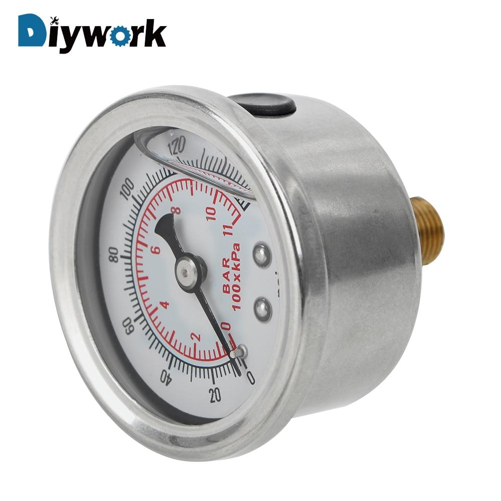 Diywork calibre líquido da imprensa de óleo para o sistema de monitoramento do verificador automático medidor de pressão de combustível líquido 0-160 psi 1/8 npt universal