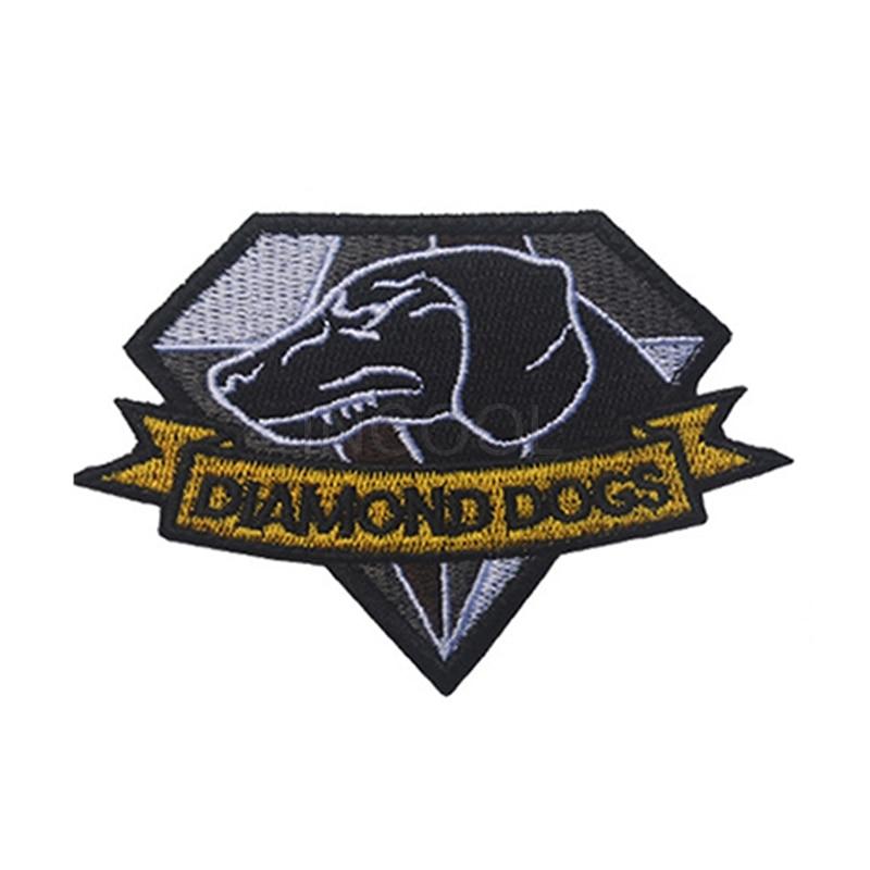Bestickt Patch Diamant Hunde Metal Gear Solid MGS Patch Taktische Applique Emblem Abzeichen Stickerei Patches 10*7CM