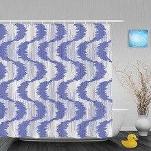 Rideau de douche en Zigzag Unique   Selle Tribal abstrait, rideau de douche, tissu Polyester imperméable bleu blanc avec crochets