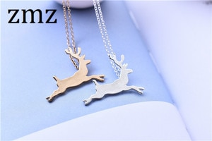ZMZ 50pcs/lot US/Europe popular outdoor fashion necklace lovely animal small running deer pendant jewelry for party/gift/sport