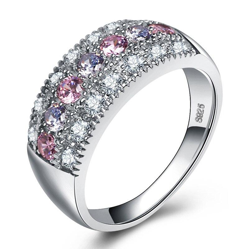 Cor roxa pedras anel de noivado cor prata zircônia cúbica das mulheres presente das senhoras cz cristal meus pedidos aliexpress jóias