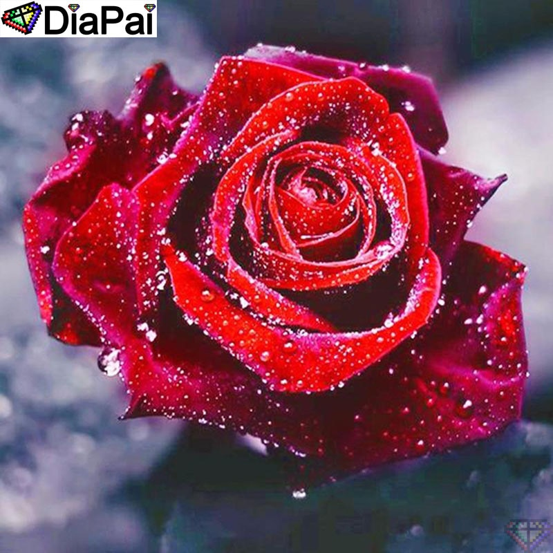 "Pintura de diamante DiaPai 5D DIY 100% cuadrado completo/taladro redondo ""paisaje de flor Rosa"" bordado de diamantes punto de cruz 3D decoración A24620"