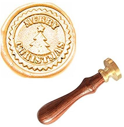 Mdlg vintage feliz Navidad árbol estrella Custom Picture logo invitación Cera sello Rosewood handle cobre cabeza set de regalo