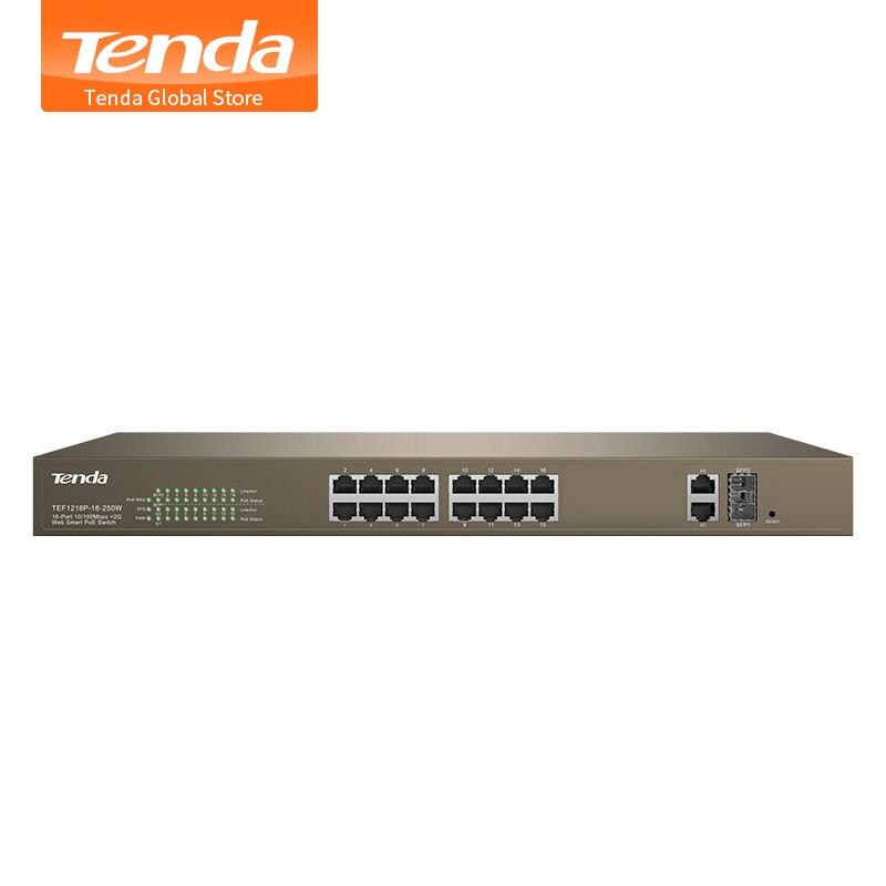 Tenda TEF1218P-16-250W 16 puertos 10/100Mbps con 2 Gigabit Web Smart PoE Switch, interruptor de transmisión de larga distancia, para cámara HD/AP