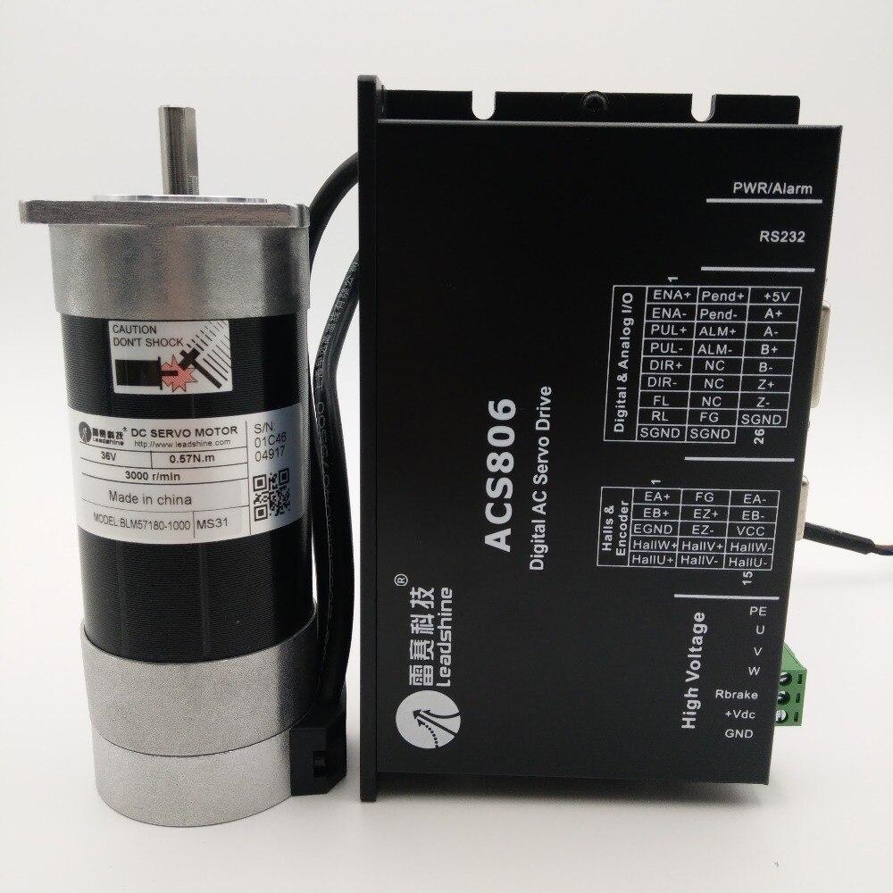 Leadshine 180W DC Servo sin escobillas de Motor + buzo Kit de brida cuadrada 6.7A 36VDC 0.57NM 3000RPM Pulse Control BLM57180-1000 + ACS806