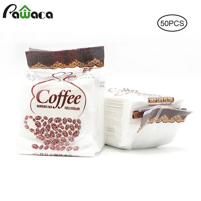50 unids/lote de papel de filtro de café de alta calidad desechable bolsa de filtro de goteo de oreja para el hogar, al aire libre