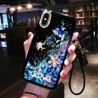 dynamic liquid quicksand case cover for iphone 6 6s 7 8 plus x xr xs max love diamonds mobile phone shell lanyard covers coque