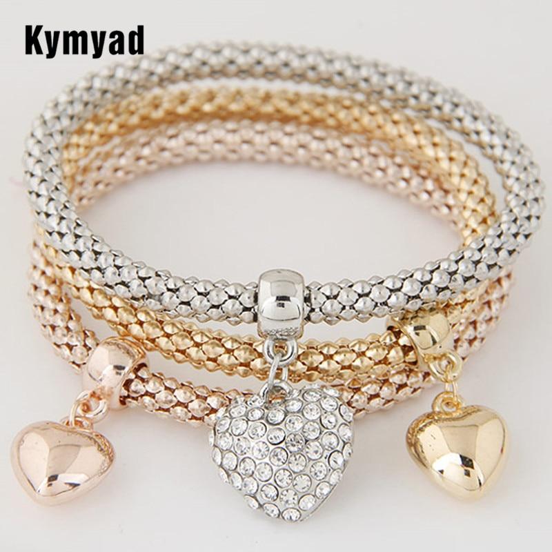 Multilayer Punk Style 3 PCS/Set Crystal Buttefly Bracelets & Bangles Elastic Charming Bracelets For Women Pulseira Masculina