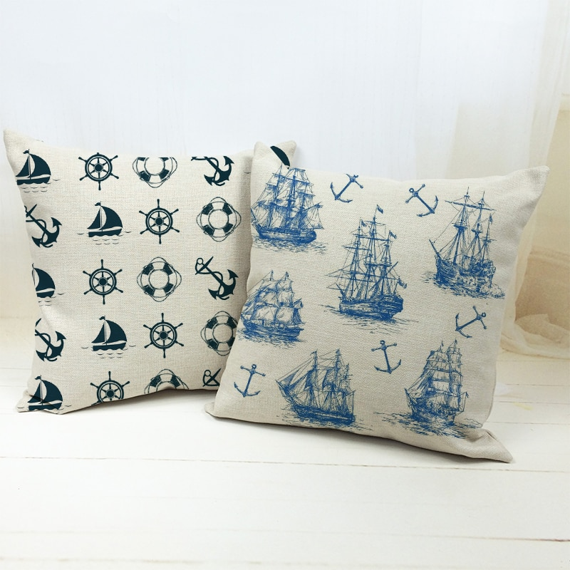 "Cojín de temática náutica, funda de cojín decorativo costero, funda de cojín azul marino, ancla, velero, Oceanic, decoración de asiento de sofá para el hogar, 18"""