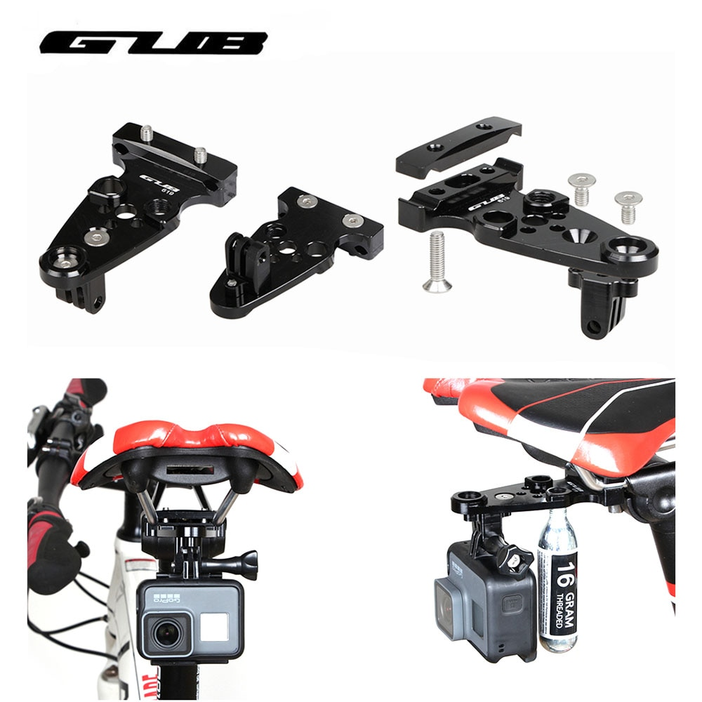 GUB 619 bicicleta tija de sillín soporte de cámara trípodes de brazo Extra ajustables para Gopro Hero Xiaomi Yi con montaje de cilindro de Gas