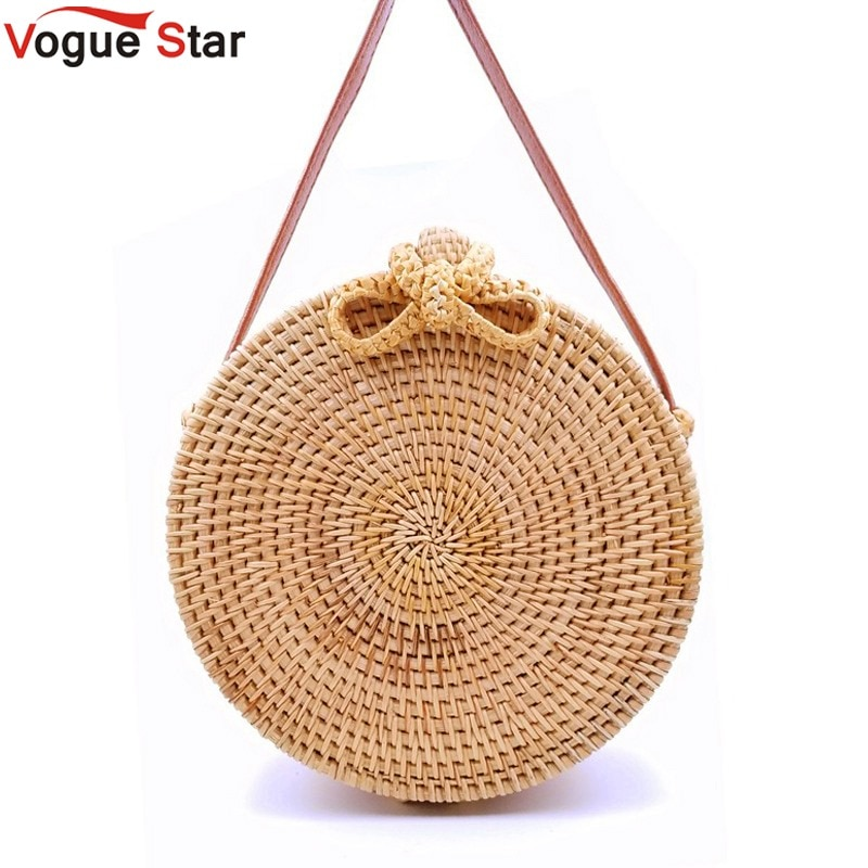 Vietnam Hand Woven Bag Round Rattan Straw Bags Bohemia Style Beach Circle Bag 2020 Popular LB965