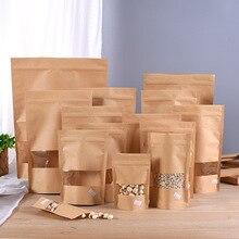 Sachets en papier Kraft à fermeture éclair   100 pièces sachets alimentaires réutilisables à sceller avec fenêtre mate et entaille déchirante pour stocker des cookies