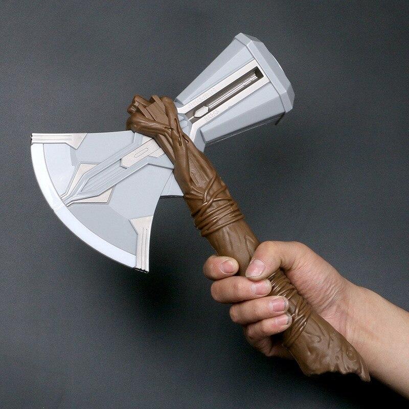 Thor stormbreaker machado martelo som flash luz crianças brinquedos armas filme role playing cosplay thor trovão martelo 31cm