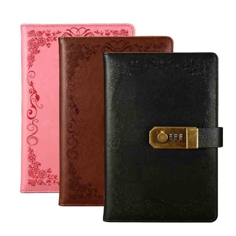 Vintage Notebook With Lock A5 PU Leather Diary Weekly Planner Lockable Paper Note Book Journal School Office Stationery Gift secret notebook ruled journal lined diary with lock creative gift heart lock