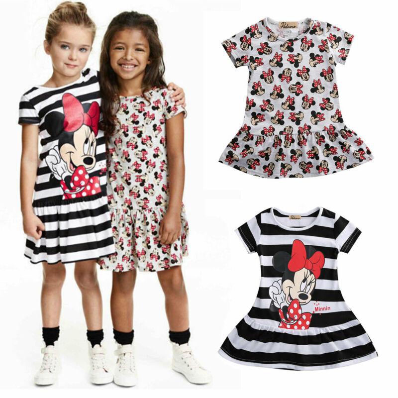Pudcoco vestidos de princesa para niña pequeña a rayas Minnie vestido Casual estampado de dibujos animados vestido de verano nuevo dos estilos de ropa para niñas