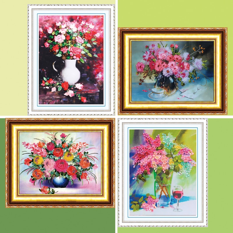 DIY nakış kiti, 3D Çiçek Boyama, Şerit Craft, Tuval resimleri, Çapraz Dikiş, İğne, ev Aksesuarları, Arkadaş Hediye