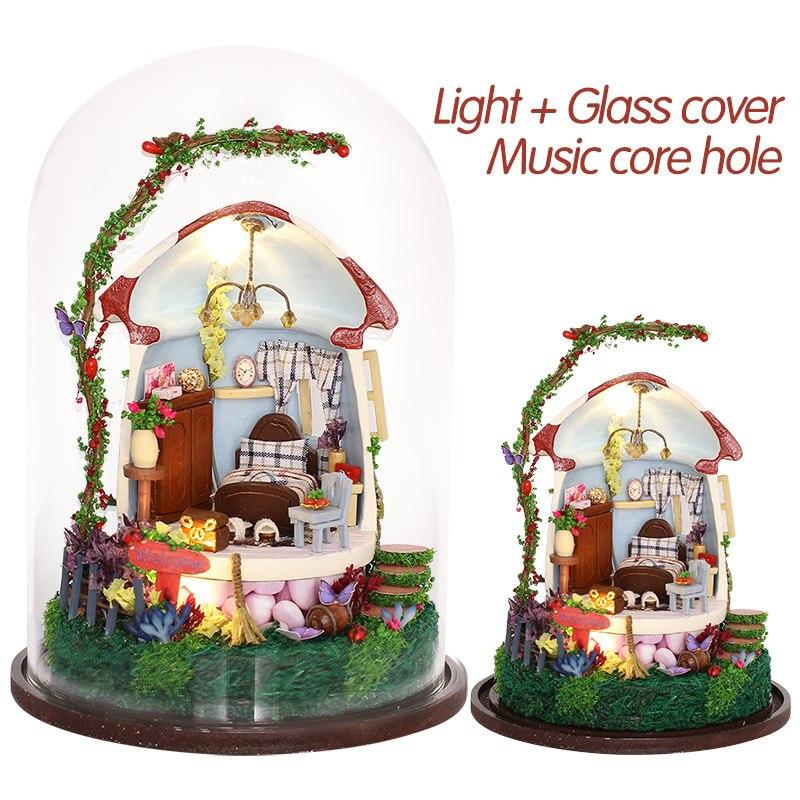 Грибная романтика, кукольный домик, мебель, сделай сам, миниатюрный пылезащитный чехол, 3D Деревянный Миниатюрный Кукольный домик, большие и...