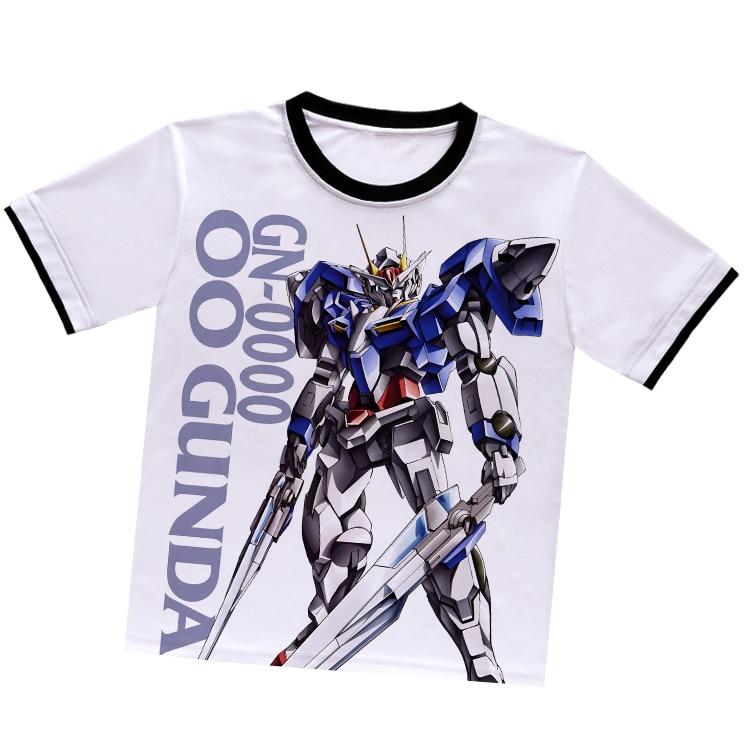 Anime japonés GUNDAM camiseta de poliéster blanco camiseta verano camiseta activa animación hombres mujeres ropa