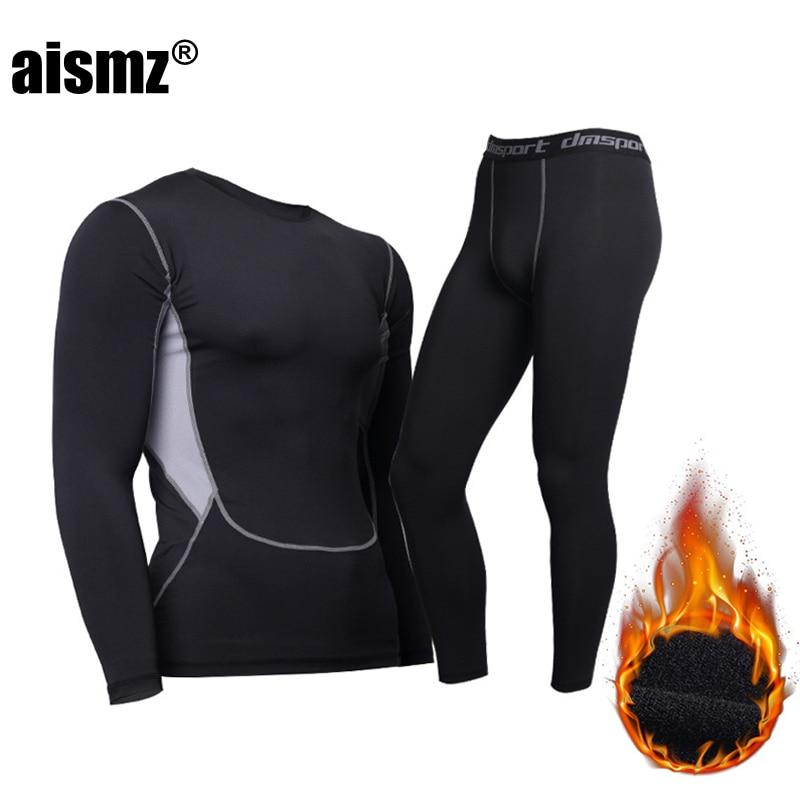 Aismz Long Johns Men Thermal Underwear Sets Winter Outdoors Men's Quick Dry Anti-microbial Surface Elastic Force Long Johns Suit