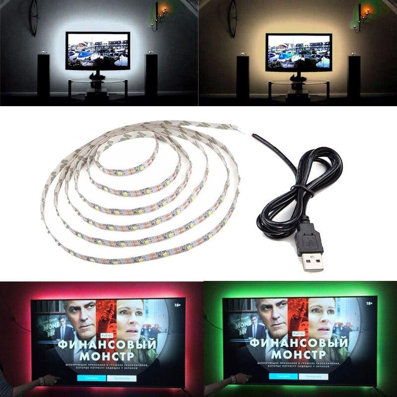 5V USB LED Streifen Nacht Licht TV Zurück String Licht Rot Blau Grün Warm Weiß 3528 SMD Flexible LED streifen Lampe für TV PC Laptop