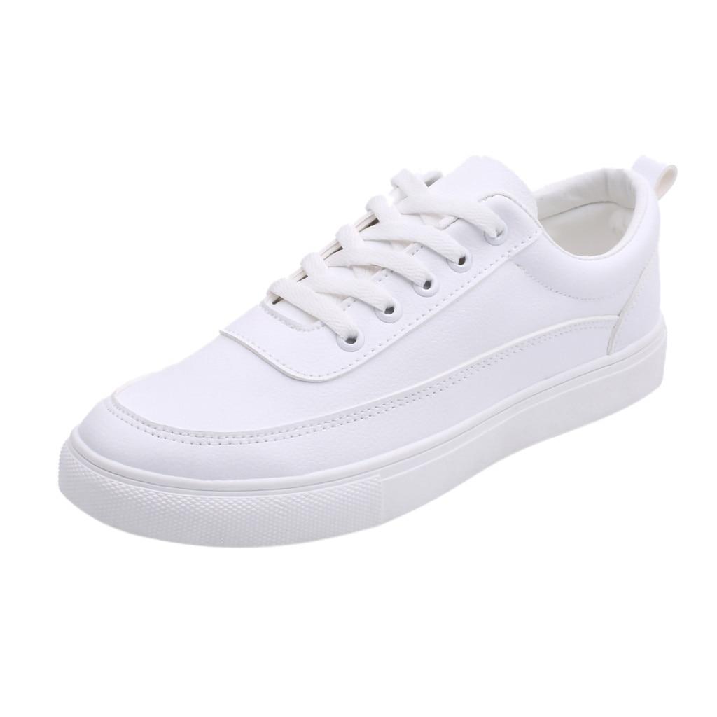 Todos os homens brancos rendas até mocassins tênis casuais cor sólida masculino estudante casal flat board sapatos tamanho grande zapatos de hombre